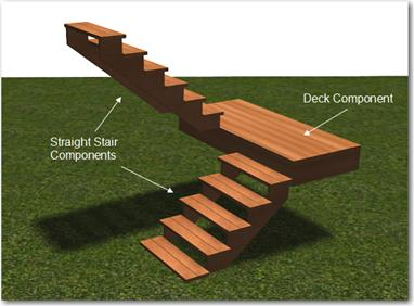 ... Of Straight Stairs And A Deck Landing. You Will Edit The Components  Separately By Selecting Modify → Edit Item And Then Left Clicking On The  Component ...